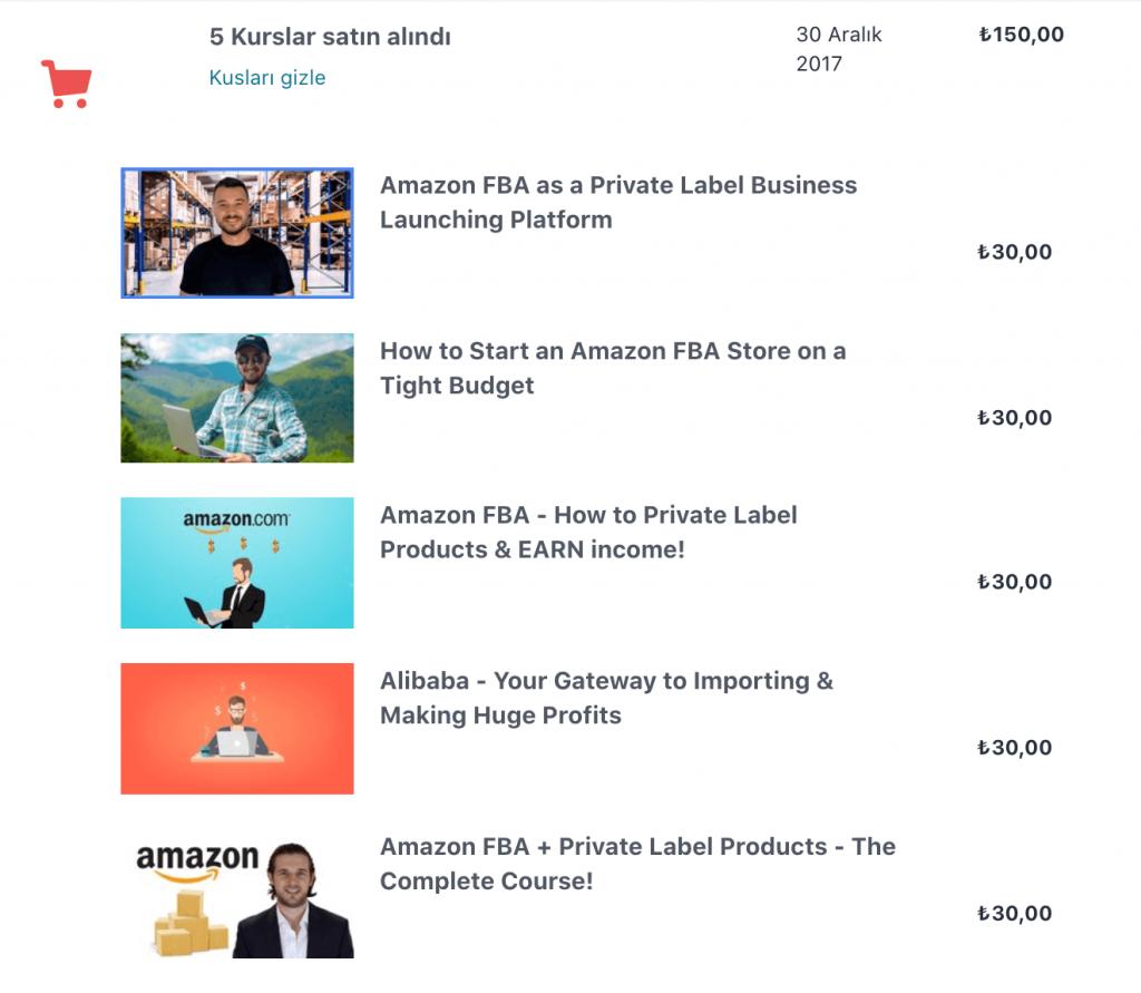Udemy Amazon FBA Kursları